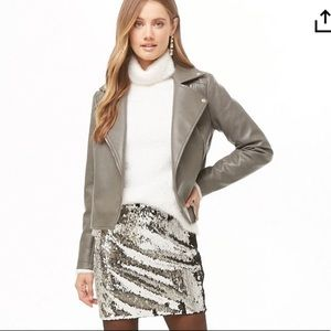 FOREVER 21 Charcoal Gray Vegan Leather Moto Jacket S